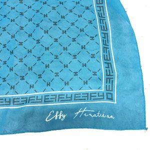EFFY HEMATIAN Teal 100% Silk Scarf Wrap